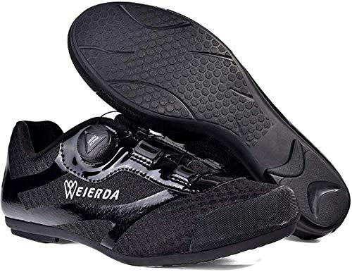 KUXUAN Zapatillas De Ciclismo De Carretera,Zapatillas De Deporte Ultraligeras con Cierre Automático Y Transpirables Ligeras con Botón Giratorio para Hombres Y Mujeres,Black-44EU
