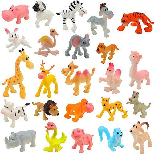 OOTSR 24Pcs Mini Animali Fattoria in plastica e Animali della Giungla Selvaggia Giocattoli Figure per Bambini Imparare Playset educativo Bomboniere Riempitrici per Borse Regali per Ragazzi e Ragazze