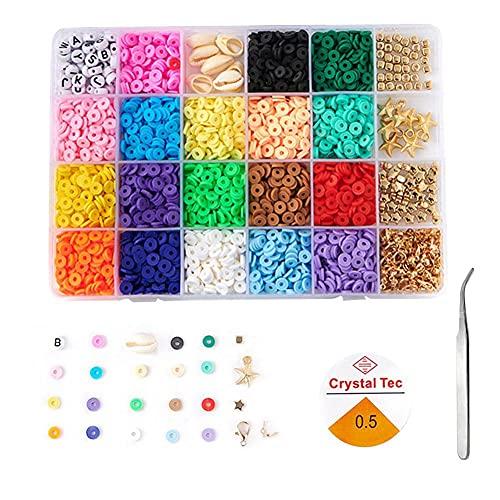 Kit de fabricación de joyas, boho, 18 colores de arcilla polimérica con pinzas de cuerda elástica para hacer manualidades, manualidades, joyas, pulseras de amistad, collares, pendientes, accesorios