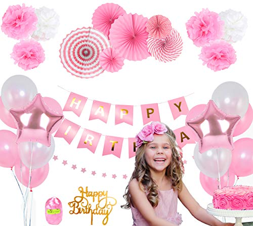 Pink Birthday Decorations for Girls - 1st Birthday Girl Decorations - Happy Birthday Banner - 14 Happy Birthday balloons - Birthday Cake Topper - Paper Fans and 6 Pom Poms - Princess Party Supplies Set