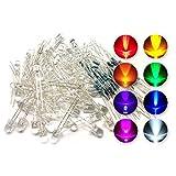Yardwe 80 Piezas 5 mm Surtido de LED Transparente con 1/4 vatios 80 Ohm Resistencias (8 Colores)