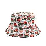 Sombreros de Cubo para Mujer, Sombrero de Pescador con Estampado de Fresa Grande, Sombrero de Cubo Blanco, Sombrero de Sol Reversible de algodón, Sombrero de Playa