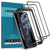 omitium 3 Pack Vetro Temperato per iPhone 11 Pro e iPhone X e iPhone XS, 9H Durezza iPhone XS Pellicola Protettiva Copertura Completa [Strumento Installazione Facile] Protezione Schermo iPhone X/XS