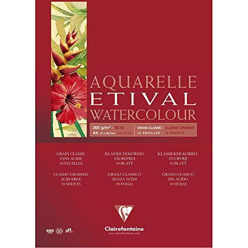 Clairefontaine Bloco de Papel Para Aquarela Etival A4 200G, 96374C, Branco