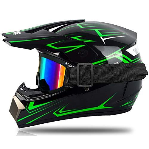 Motocrosshelm für Kinder, Rot und Grün, Integralhelm, Motocross, MTB, mit Brille, Handschuhe, geeignet für Scooter, Fahrrad
