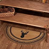 VHC Brands Trophy Mount Small Area Rug Mat Jute Rustic Lodge Stencil Stars Pattern for Entryway or Kitchen Half-Circle Non Skid Pad 16.5x33