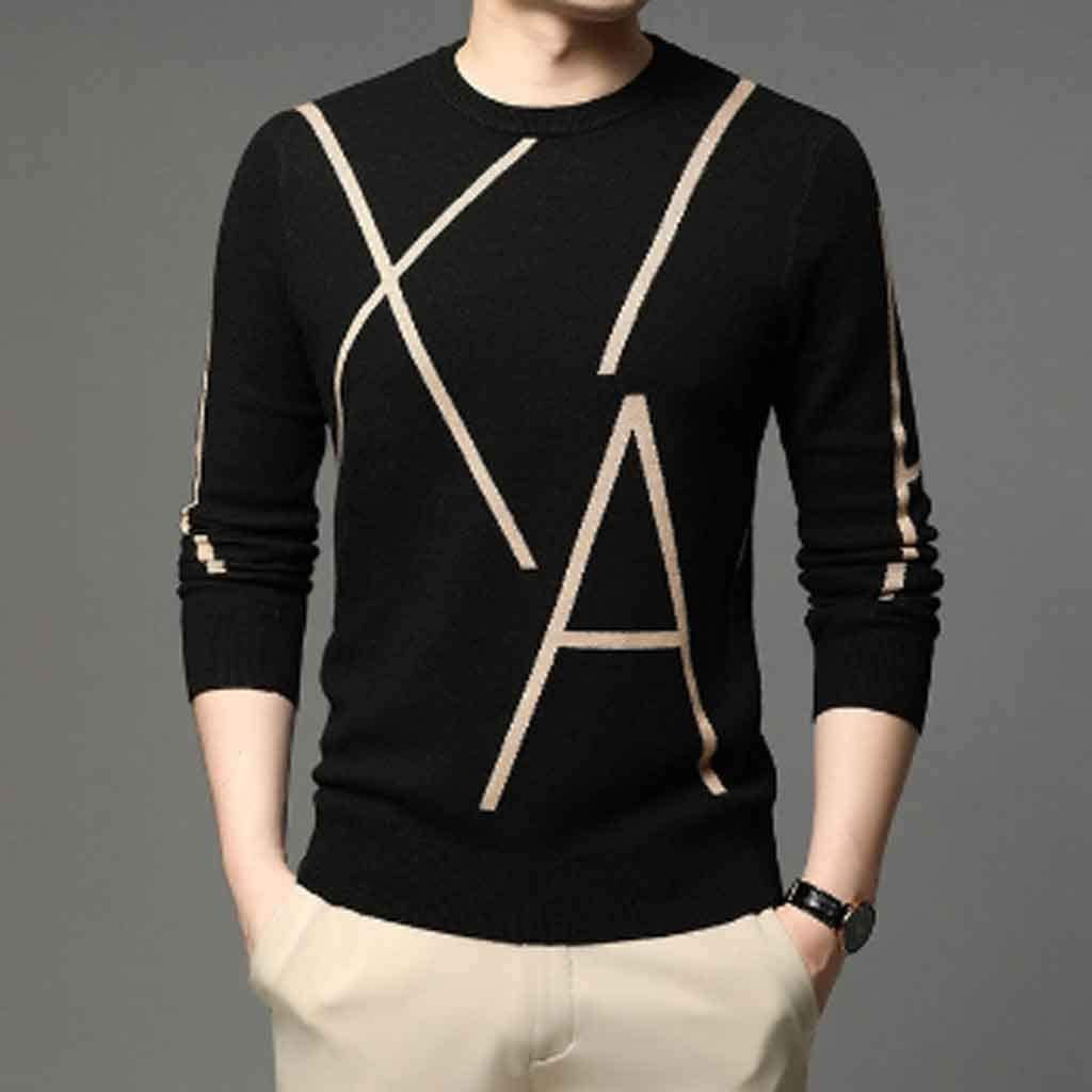 ZYING Knit High End Designer Winter Wool Pullover Black Sweater for Man Cool Autum Casual Jumper Mens Clothing (Color : XL Code)