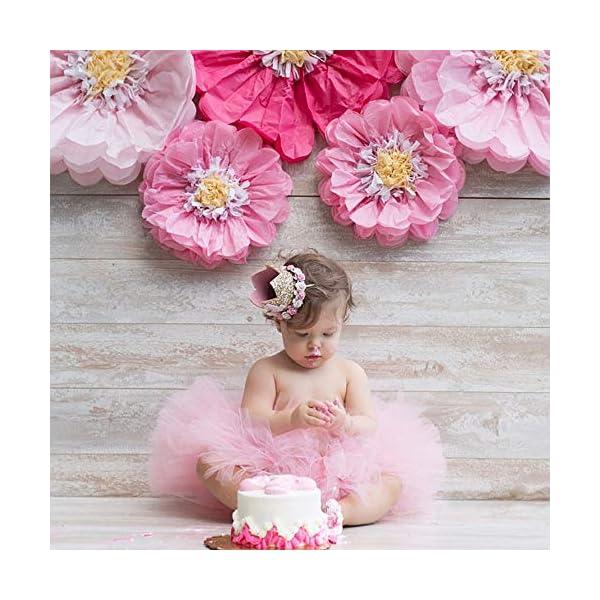 MINGZE Flor Corona Diadema, 1-3 años de Edad Princesa bebé cumpleaños Accesorios para el Cabello Baby Princess Tiara…