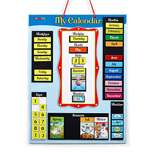 ZazzyKid Magnetic Wall Calendar for Kids: Learn Today's Date Weekday Month Season Weather Chart