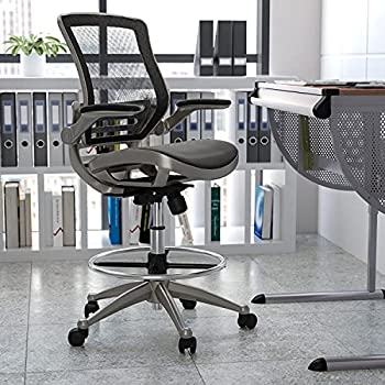 Flash Furniture Mid-Back Transparent Black Mesh Drafting Chair