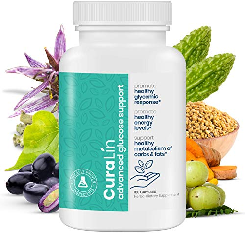CuraLin Advanced Glucose Support Supplement - Plant Based Ayurvedic Blood Sugar & Insulin Support for Type 2 Diabetics and Pre-Diabetics (1 Bottle - 180 Capsules - 30 - 60 Day Supply) by CuraLife