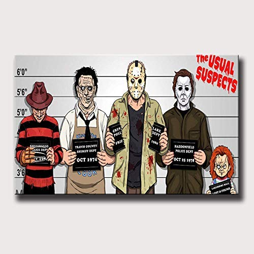 Lihuaiart Halloween Freddy Krueger , Jason , Michael Myers , Chucky ,Horror ,Artwork Wall Art Home Wall Decorations for Bedroom Living Room Oil Paintings FINDEMO Canvas Prints-1125 (Framed,20x32inch)