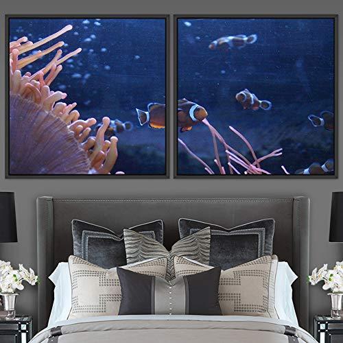 "bestdeal depot Clownfish 2 Panels Framed Canvas Wall Art Prints for Living Room,Bedroom Framed Artwork Decoration Ready to Hang - 16""x16""x2 Panels"