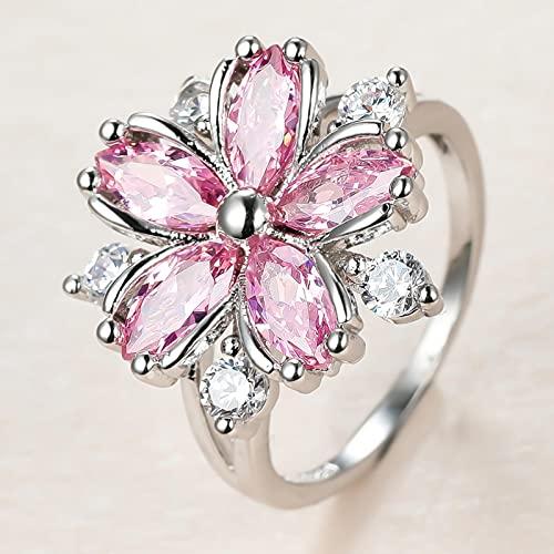 SHIYONG Anillo de Piedra de Cristal Rosa, Anillo de Compromiso Fino de Color Plateado para Mujer, Anillo de Compromiso de circonita con Flor de Novia Delicada