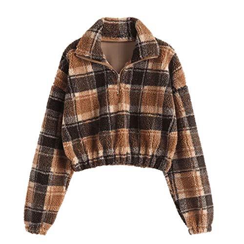 Xmiral Tops Damen Turndown Kragen Kurz Plüsch Plaid Kurz Pullover Sweatshirt Revers...