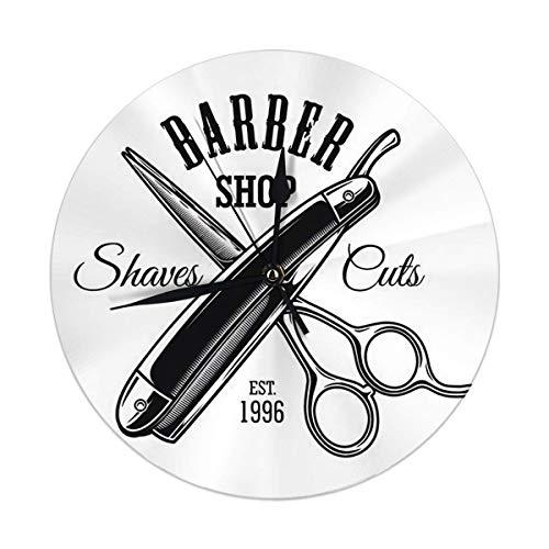 Not Applicable Vintage Monochrome Barbershop mit gekreuzter Schere und Rasiermesser Home Decor Runde Wanduhr Stille Nicht tickende Batterie für Esszimmer Wohnzimmer Küche Schlafzimmer betrieben