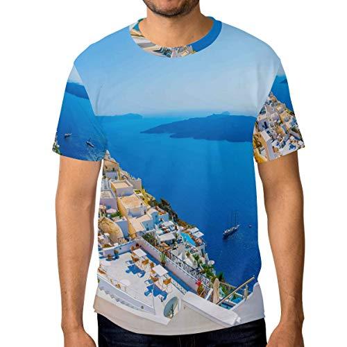 MONTOJ Amazing Greek Islands Essentials - Maglietta a Maniche Corte da Uomo, Asciugatura Rapida 1 XXL