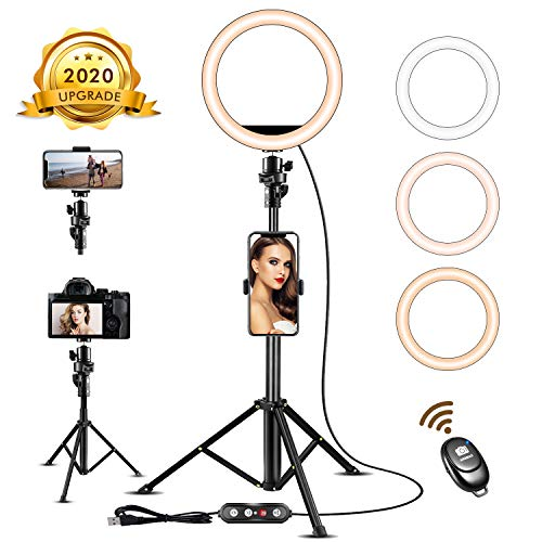 8'' Led Camera Ring Light with Tripod Stand - Upgraded Selfie Ring Light with Cellphone Holder for Online Teaching/TikTok/Live Stream/Photography/Makeup Compatible with iPhone X/XR/XS Samsung/Pixel