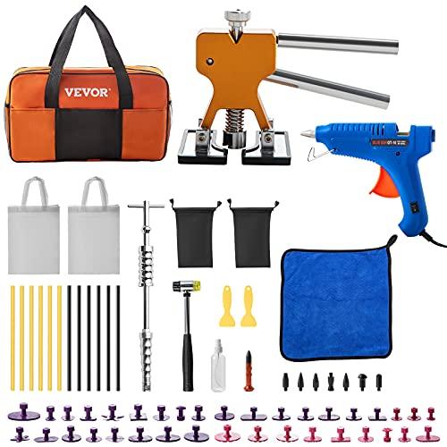 VEVOR Kit de Reparación de Abolladuras Kit de Extractor de Abolladuras, Herramienta de Barra en T, Kits de Eliminación de Lengüetas para Carrocería de Automóvil Gran y Pequeña Abolladura (69 Piezas)