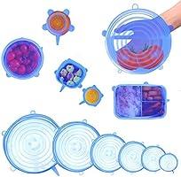 Tapas Elásticas de Silicona - 6 Piezas Envoltura Plástica Reutilizable Alternativa para Cubetas y Recipientes de...