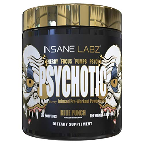 Insane Labz Psychotic Gold, High Stimulant Pre Workout Powder, Extreme Lasting Energy, Focus, Pumps and Endurance with Beta Alanine, DMAE Bitartrate, Citrulline, NO Booster, 35 Srvgs, Blue Punch