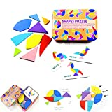 YTYASO Wooden Tangram Pattern Blocks Animals Jigsaw Puzzle,Classification and Stacking Game,Montessori Educational Toys for Kids,Early Educational Challenge IQ Brain Teasers Gift (Egg Shape)