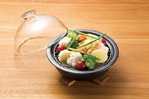 アデリア土鍋万古焼燻製ができる鍋直径22.3×高7.2cmグラスドームクッカーレシピ付き電子レンジ・直火対応F71715