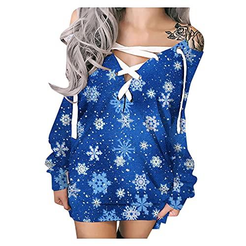 Briskorry Off Shoulder Weihnachtskleid Damen Weihnachten Minikleid Sexy V-Ausschnitt Dünnes Kleid Kurz Bodycon Minikleid Mode Drucken Langärmliges Kleid Casual Sweatshirt Kleid Partykleid