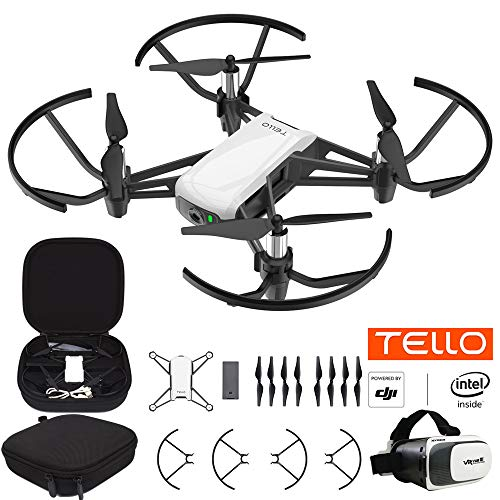 Powered By DJI Tello Quadcopter Drone with HD Camera and VR Technology Starter Bundle with Carry Case and VR Goggles Headset