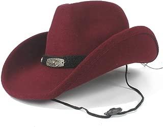 JAUROUXIYUJI New 2019 Winter Cowboy Hat Wool Western Cowboy Hat Scorpion Jazz Hat Men and Women Travel Hat Retro Knight (Size: 56-59cm) (Color : Wine red, Size : 56-59cm)