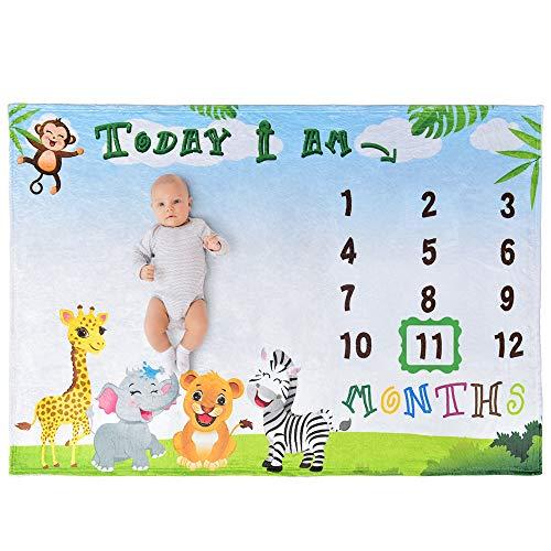 WERNNSAI Dschungelsafari Meilenstein Decke - 150 × 100 cm Fleece Kinderzimmer Bett Decken Giraffe Affe Elefant Babydecke Geburtstag Baby Shower Geschenk, Fotografie Hintergrund Requisiten