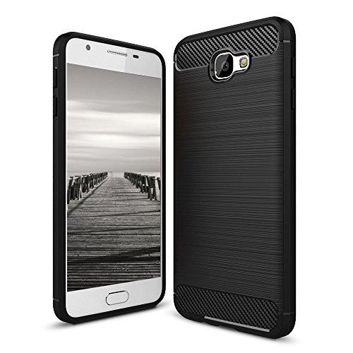 MYCASE für Samsung Galaxy J5 Prime / ON5 (2016) Armor Cover   SCHWARZ   Schutz Handy Hülle TPU Silikon Hülle Carbonfibre   Schutz Handyhülle Schale Weich Dünn Tasche