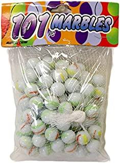 DollarItemDirect 101 pcs White with Assorted Colors Marbles, Case of 48