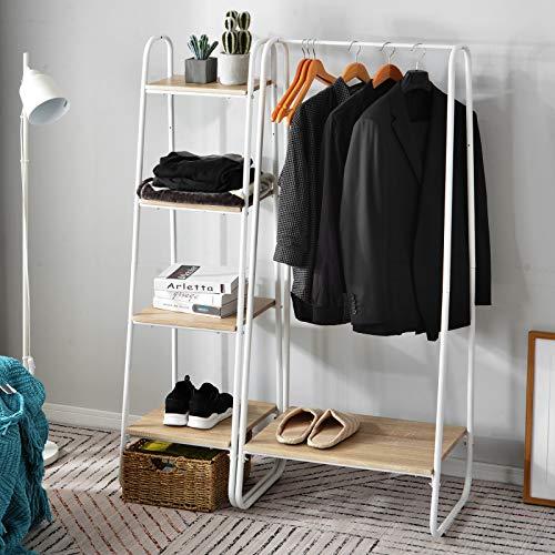 jeerbly Robuster Kleiderständer aus Metall mit Schuhregal, Aufbewahrungsschrank, Kleiderschrank, 4 Etagen, Leiter, Bücherregal, Regaleinheit aus Holz
