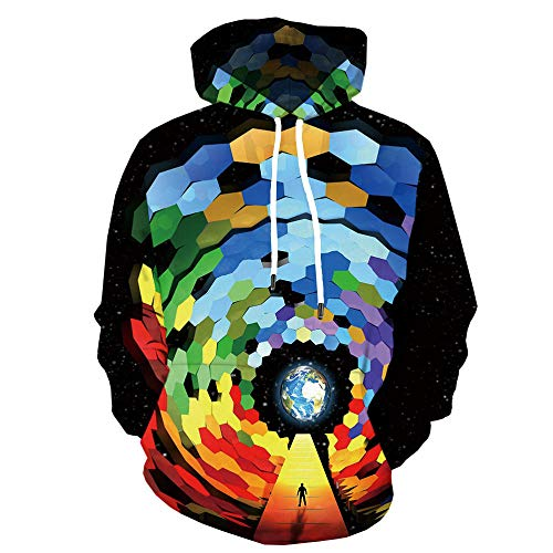 World Globe Sweater Square Hooded Maglione 3D Maglione Stampa Digitale Casual Sport Jacket-Color_S