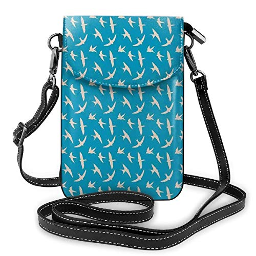 Women Mini Purse Crossbody of Cell Phone,Birds In The Sky Flying with Open Wings Freedom Weather Graphic