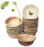 BIOQUQ Edle Einwegschalen | 275ml, 25 Stück | 25 STK GRATIS Spieße -Einweggeschirr kompostierbar aus Palmblatt |Einweg Suppenschale | Snackschale Partyschale