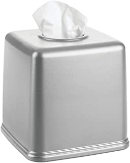 mDesign Plastic Square Facial Tissue Box Cover Holder for Bathroom Vanity Countertops, Bedroom Dressers, Night Stands, Desks and Tables - Gray