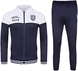Mogogo Mens Relaxed-Fit Athletic Zip-Front Contrast 2-Piece Tracksuit Set