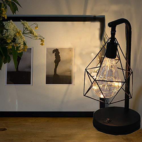 YSNJG Diamond tafellamp Scandinavisch bedlampje dimbaar creatief nachtlampje decoratief licht op batterijen nachtlampje voor slaapkamer, hotel (zwart) kerstverjaardagscadeau
