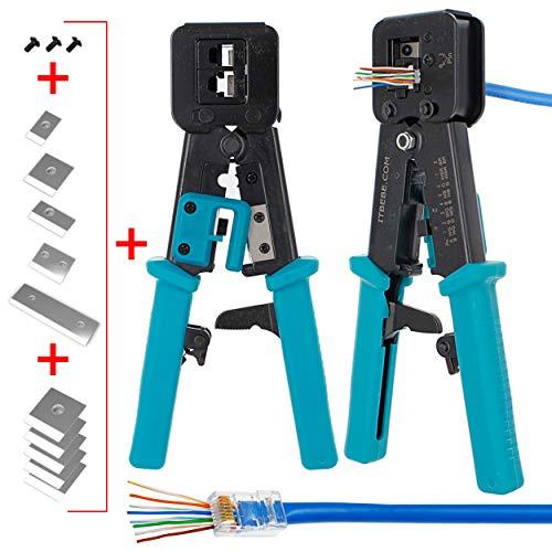 ITBEBE - Crimpadora RJ45 de acero endurecido con cuchillas cortadoras de alambre y empuñaduras texturizadas
