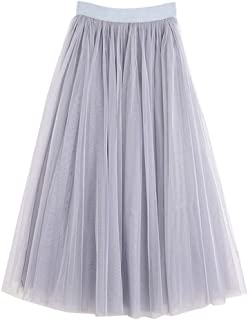 niumanery Womens Adult Ice Silk Lining Three Layer Tulle Skirt Solid Color Pleated Princess Maxi A-Line Overlay Flare Bouf...