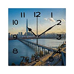 ALUONI Square Wall Clock Seoul City Skyline with View of Han River in Seoul South Korea 8 inch Morden Wall Clocks Silent Square Decorative Clock No127743