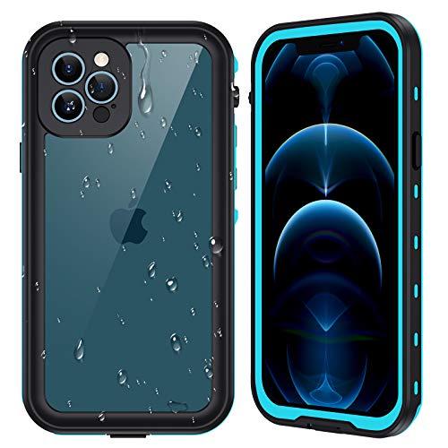 "Ruky iPhone 12 Pro Max Case Waterproof IP68 Full Seal Underwater Cover with Built-in Screen Protector Heavy Duty Shockproof Snowproof Dustproof Waterproof Phone Case for iPhone 12 Pro Max 6.7"", Teal"