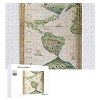 INOV アメリカ大陸 世界地図1565年から ジグソーパズル 木製パズル 500ピース キッズ 学習 認知 玩具 大人 ブレインティー 知育 puzzle (38 x 52 cm)