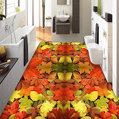 Papel tapiz mural de piso personalizado 3D Hoja de arce Sala de estar Baño Suelo de vinilo Fondos de pantalla autoadhesivos impermeables para pared Rol-350x245cm