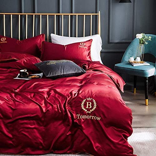 geek cook Bedding 4 Piece,Nordic ice silk bed four-piece bedding set light Feng Shui silk-Romantic wine red 1_1.8m bed [suitable for 200x230 quilt] four-piece suit