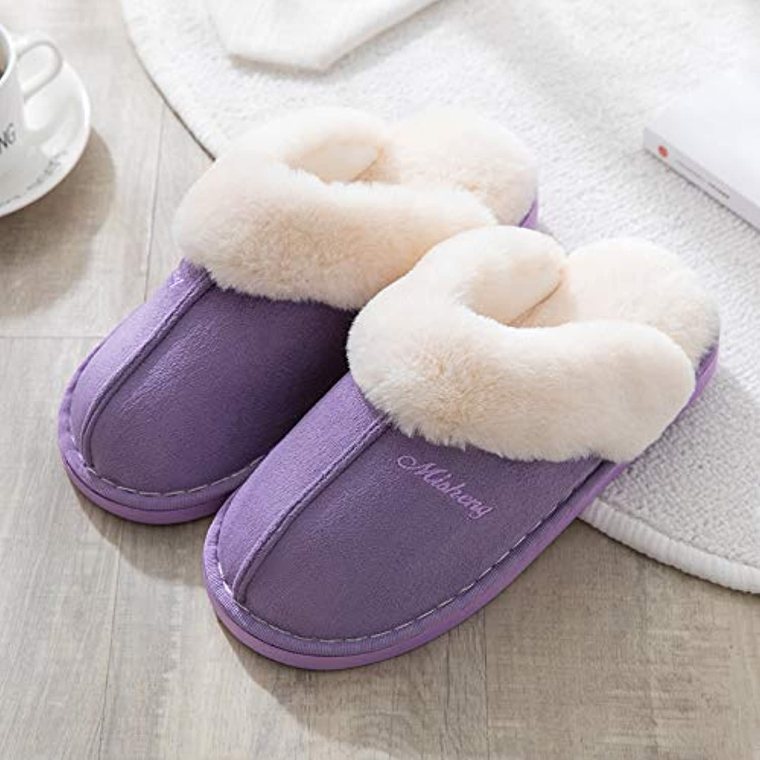 IANXI Home Autumn and Winter Waterproof Quilted Home Non-Slip Slippers Men and Women Indoor and Outdoor Warm Cotton Slippers Thick Slippers (color   Purple, Size   2)