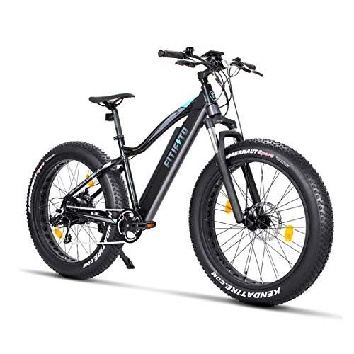 Fitifito FT26 Elektrofahrrad Fatbike E-Bike Pedelec, Samsung Akku, 48V 250W Heckmotor, 7 Gang, Kenda 26 x 4,0 MTB Reifen, Matt Schwarz Grau