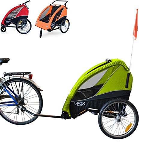 Papilioshop B-Fox - Remolque de bicicleta o cochecito para transporte de 1 a 2 niños (verde)